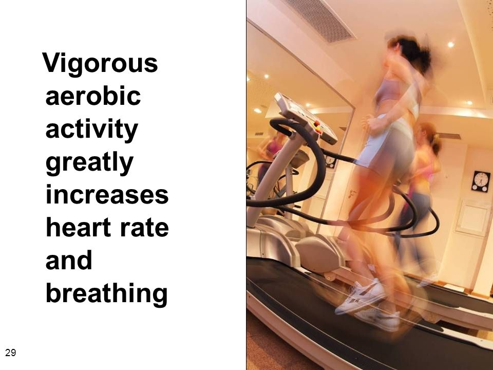 29 Vigorous aerobic activity greatly increases heart rate and breathing