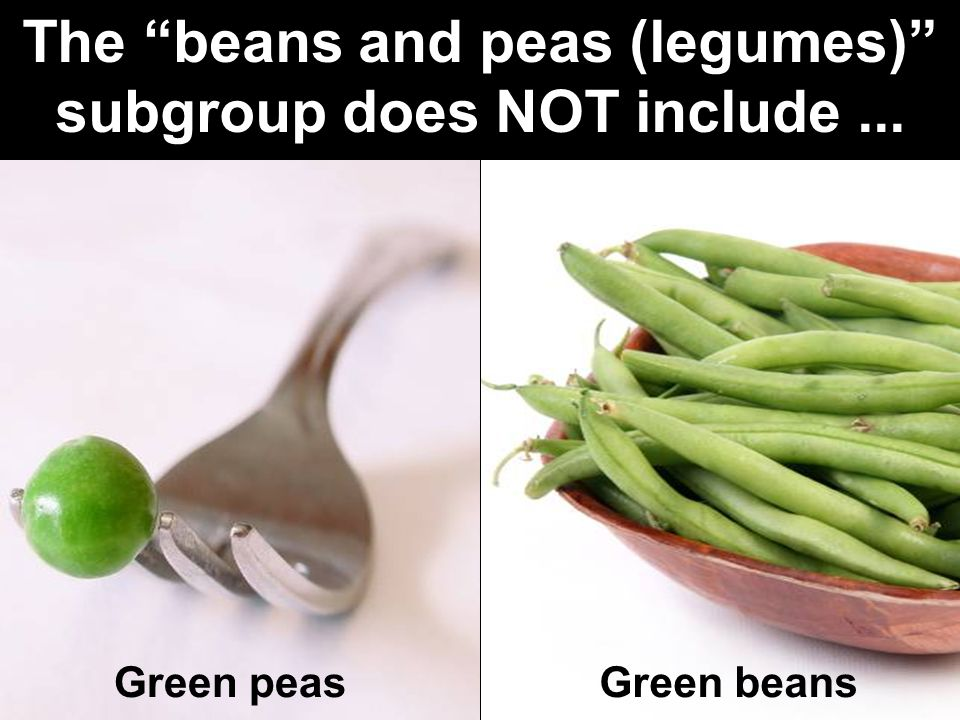 "36 Green peasGreen beans The ""beans and peas (legumes)"" subgroup does NOT include..."