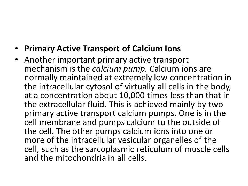 Primary Active Transport of Calcium Ions Another important primary active transport mechanism is the calcium pump. Calcium ions are normally maintaine
