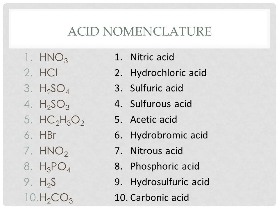 ACID NOMENCLATURE 1.HNO 3 2.HCl 3.H 2 SO 4 4.H 2 SO 3 5.HC 2 H 3 O 2 6.HBr 7.HNO 2 8.H 3 PO 4 9.H 2 S 10.H 2 CO 3 1.Nitric acid 2.Hydrochloric acid 3.Sulfuric acid 4.Sulfurous acid 5.Acetic acid 6.Hydrobromic acid 7.Nitrous acid 8.Phosphoric acid 9.Hydrosulfuric acid 10.Carbonic acid