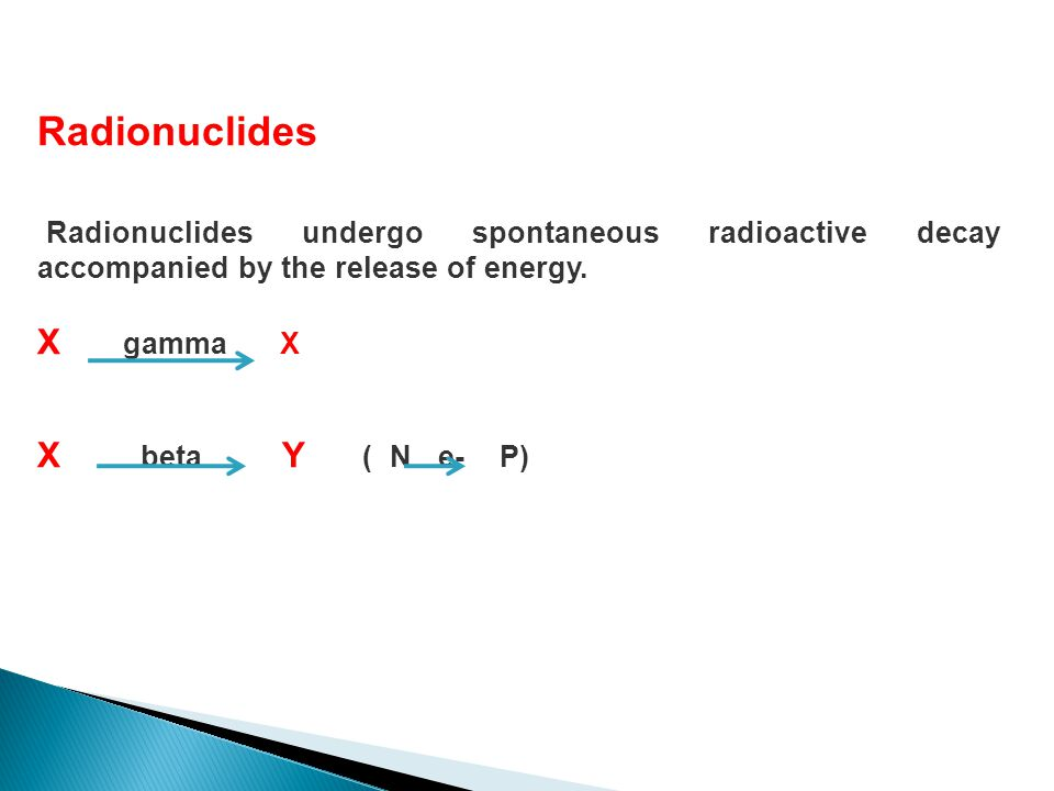Radionuclides Radionuclides undergo spontaneous radioactive decay accompanied by the release of energy. X gamma X X beta Y ( N e- P)