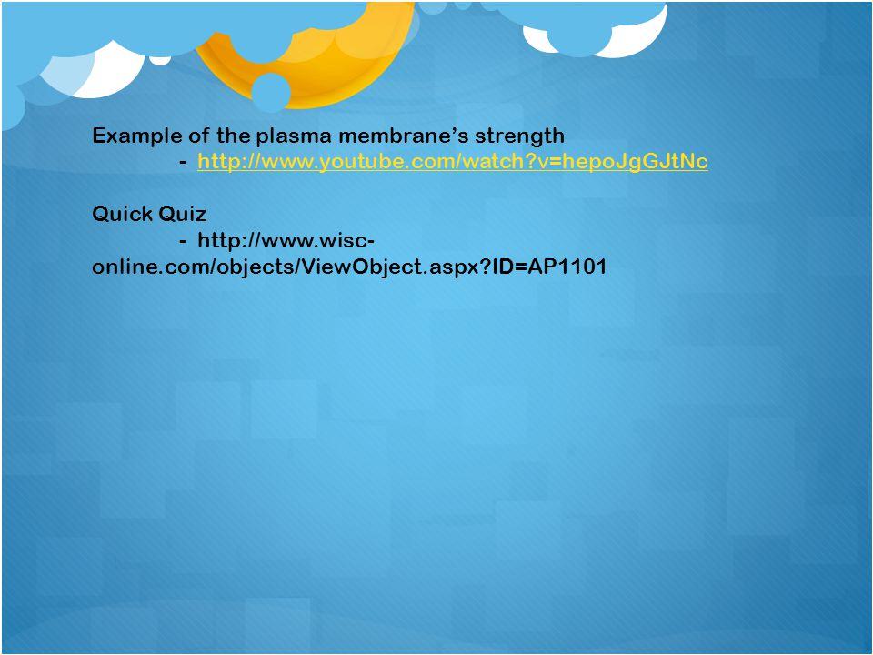 Example of the plasma membrane's strength - http://www.youtube.com/watch?v=hepoJgGJtNchttp://www.youtube.com/watch?v=hepoJgGJtNc Quick Quiz - http://w