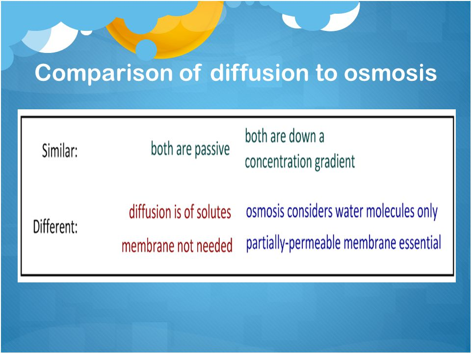 Comparison of diffusion to osmosis