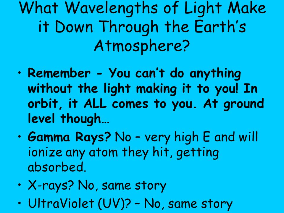 What Wavelengths of Light Make it Down Through the Earth's Atmosphere.
