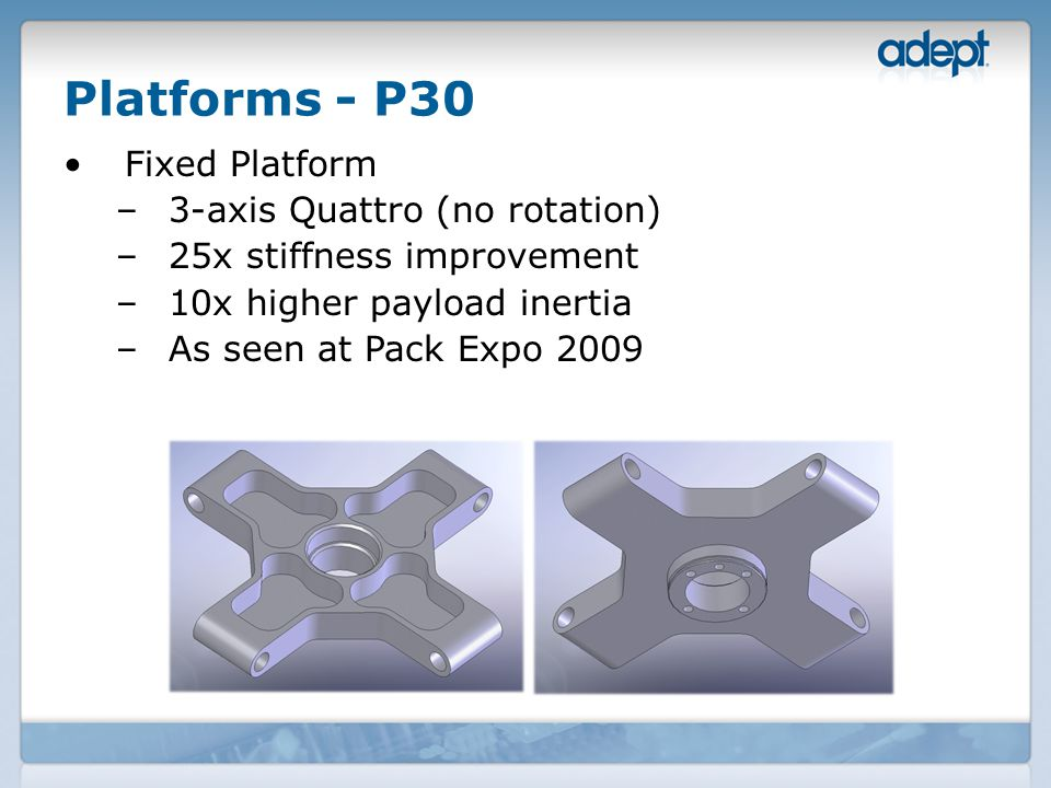 Platforms - P30 Fixed Platform –3-axis Quattro (no rotation) –25x stiffness improvement –10x higher payload inertia –As seen at Pack Expo 2009