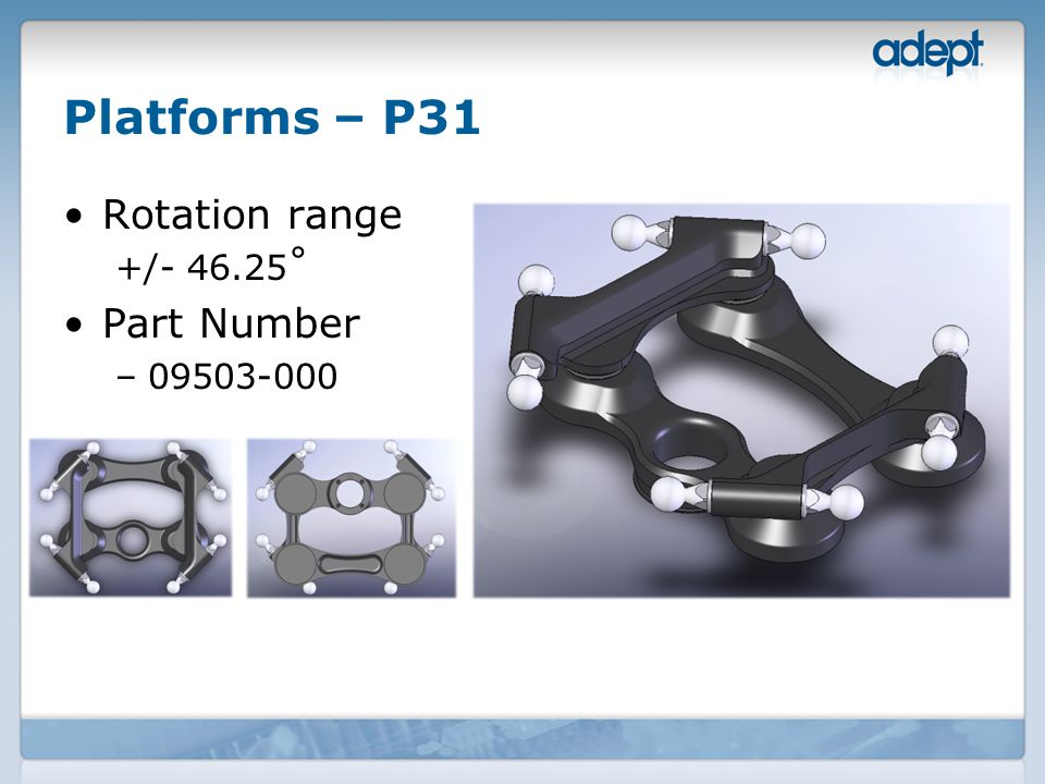 Platforms – P31 Rotation range +/- 46.25˚ Part Number –09503-000
