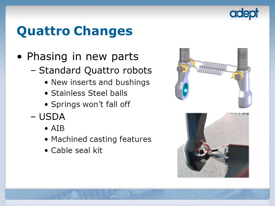 Quattro Changes Phasing in new parts –Standard Quattro robots New inserts and bushings Stainless Steel balls Springs won't fall off –USDA AIB Machined casting features Cable seal kit
