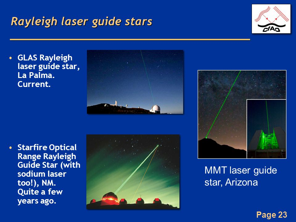 Page 23 Rayleigh laser guide stars GLAS Rayleigh laser guide star, La Palma.