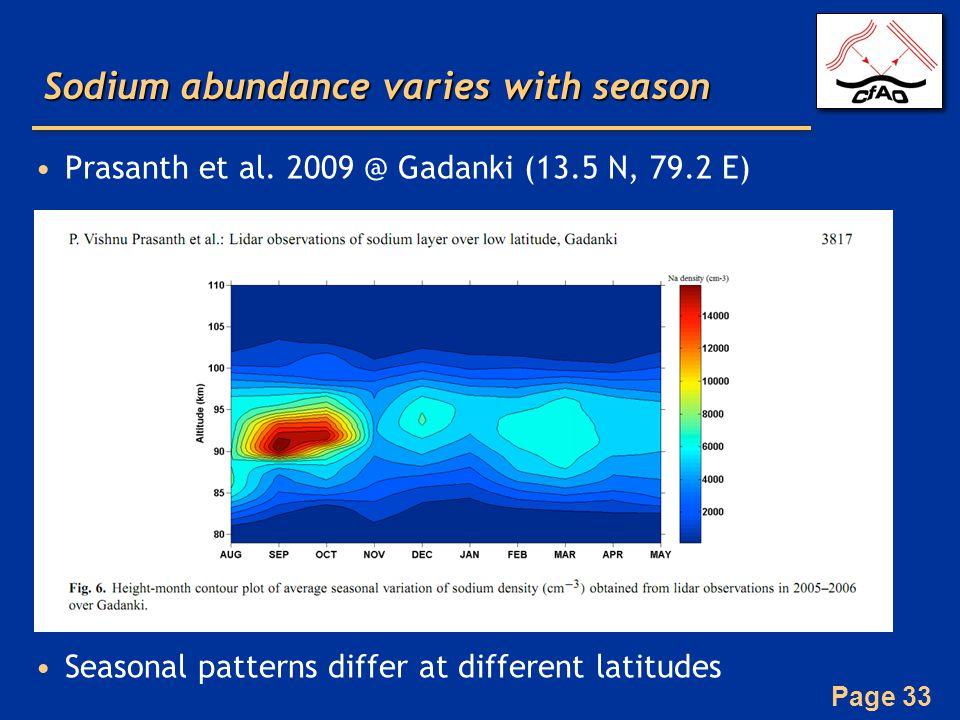 Page 33 Sodium abundance varies with season Prasanth et al. 2009 @ Gadanki (13.5 N, 79.2 E) Seasonal patterns differ at different latitudes