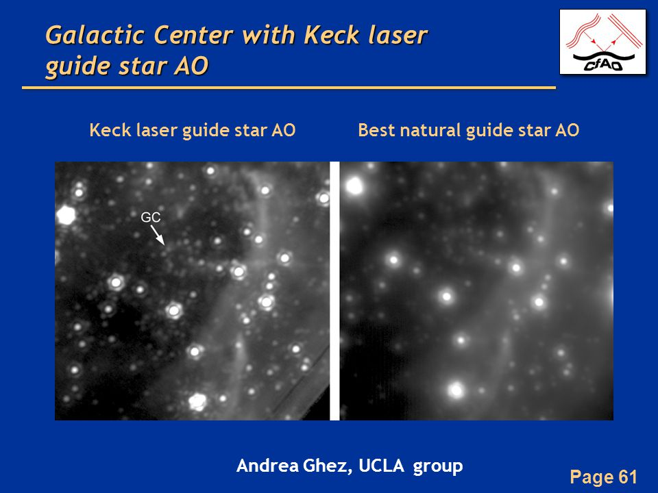 Page 61 Keck laser guide star AOBest natural guide star AO Galactic Center with Keck laser guide star AO Andrea Ghez, UCLA group