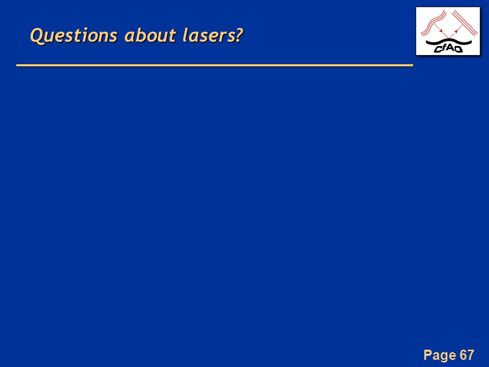 Page 67 Questions about lasers