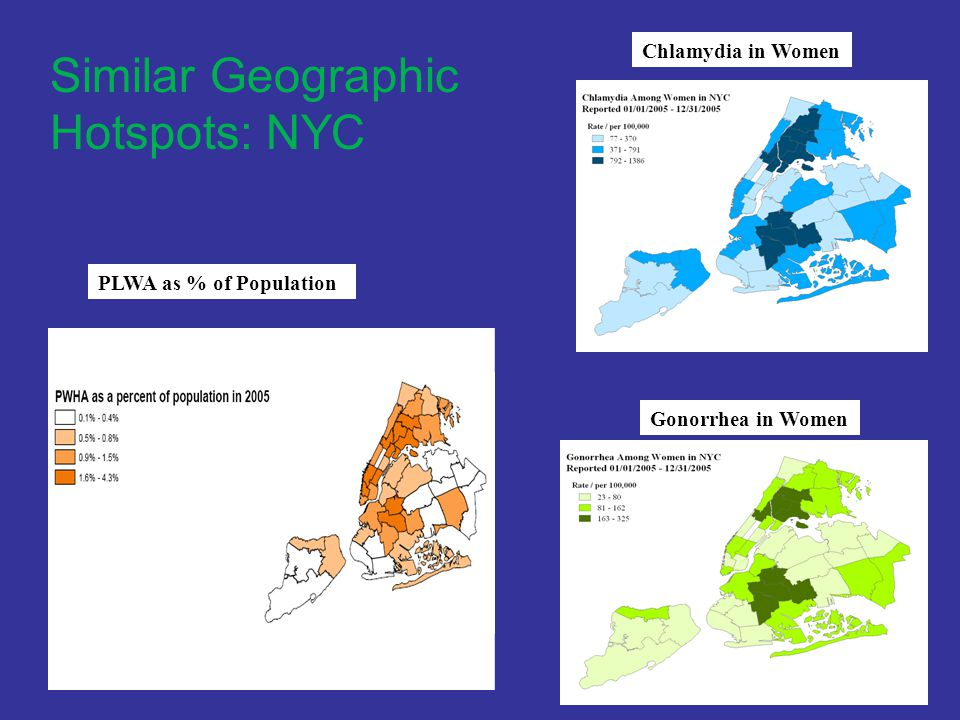 Similar Geographic Hotspots: NYC PLWA as % of Population Chlamydia in Women Gonorrhea in Women