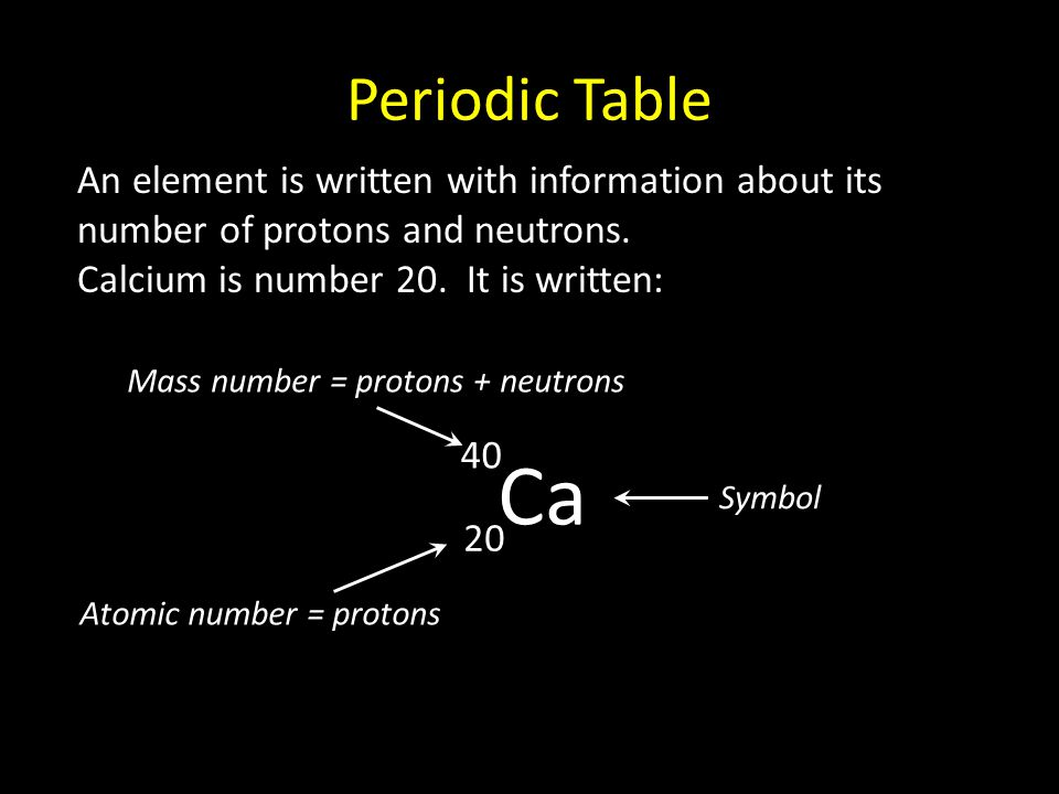 Periodic Table The elements are arranged in order of mass and structure into a table known as the periodic table: