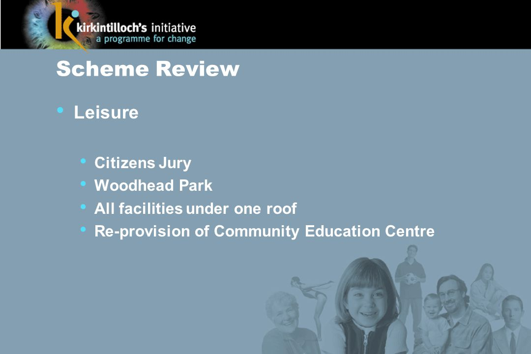 Scheme Review Leisure Citizens Jury Woodhead Park All facilities under one roof Re-provision of Community Education Centre