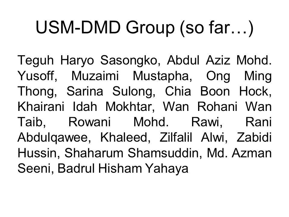 USM-DMD Group (so far…) Teguh Haryo Sasongko, Abdul Aziz Mohd.