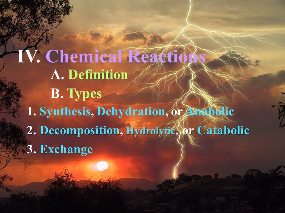 A. Definition 1. Synthesis, Dehydration, or Anabolic 2.