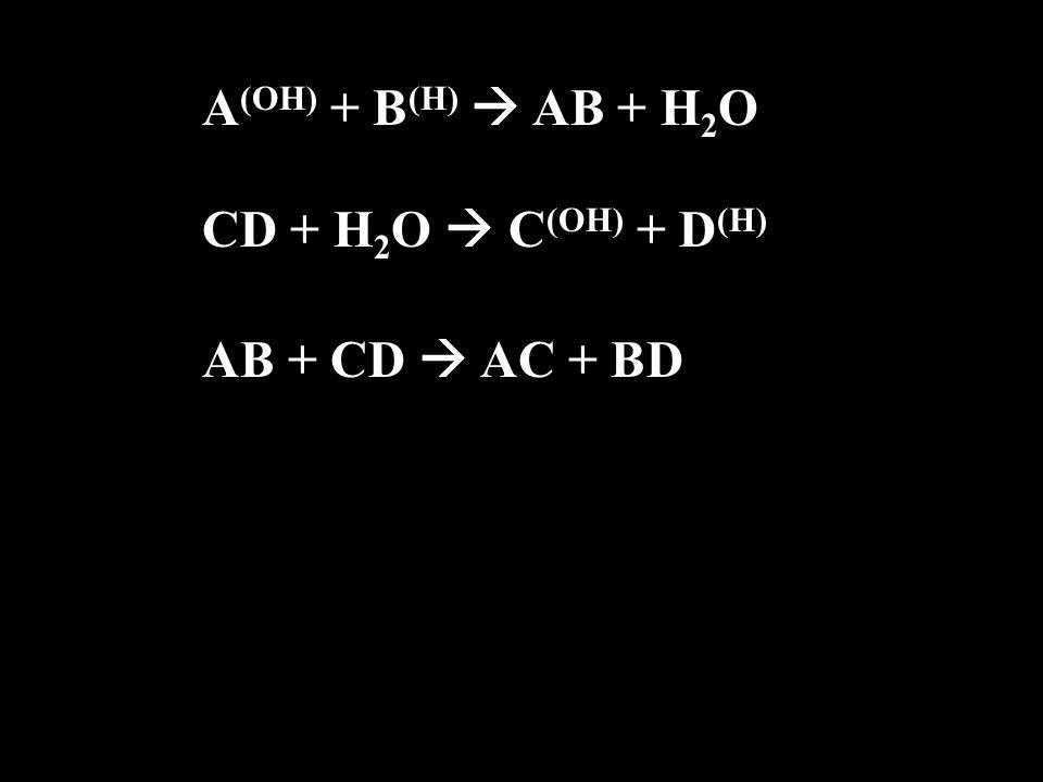 A (OH) + B (H)  AB + H2OH2O CD + H 2 O  C (OH) + D (H) AB + CD  AC + BD
