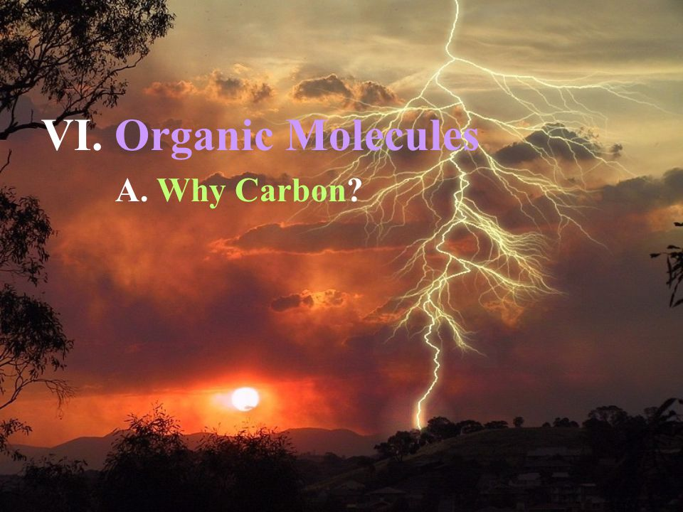 A. Why Carbon? VI. Organic Molecules