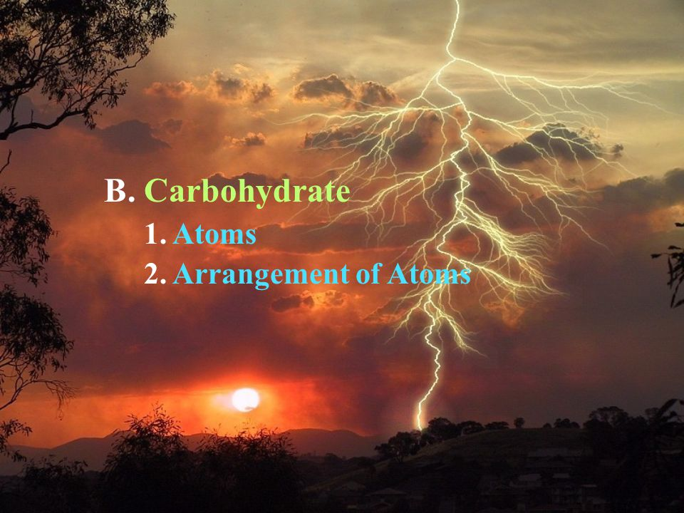 B. Carbohydrate 1. Atoms 2. Arrangement of Atoms