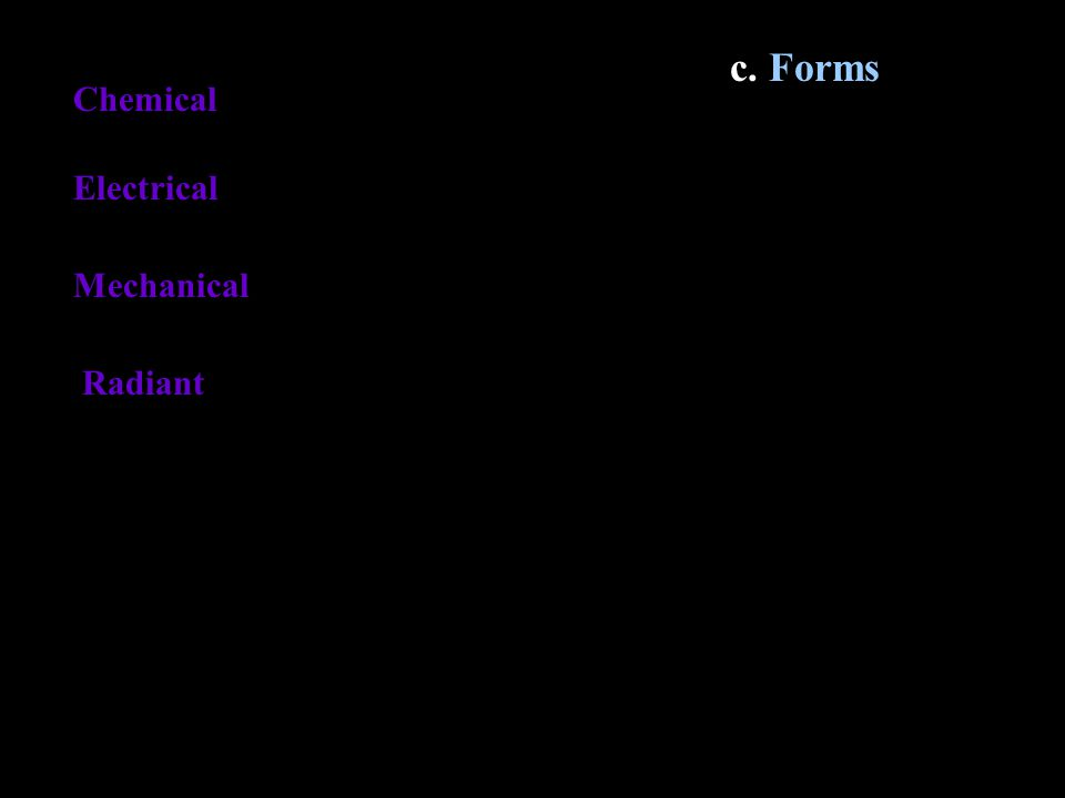 c. Forms Chemical Electrical Mechanical Radiant