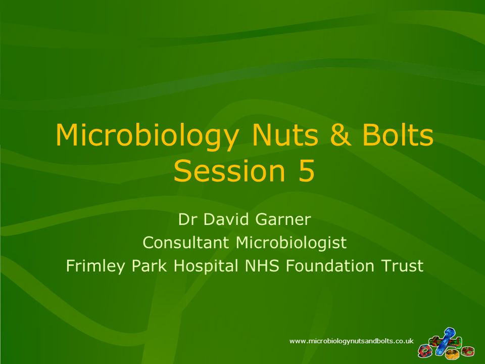 www.microbiologynutsandbolts.co.uk Microbiology Nuts & Bolts Session 5 Dr David Garner Consultant Microbiologist Frimley Park Hospital NHS Foundation Trust