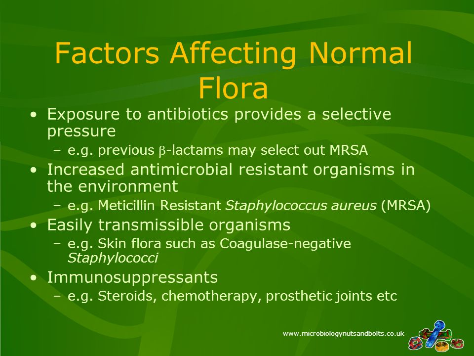 www.microbiologynutsandbolts.co.uk Factors Affecting Normal Flora Exposure to antibiotics provides a selective pressure –e.g.