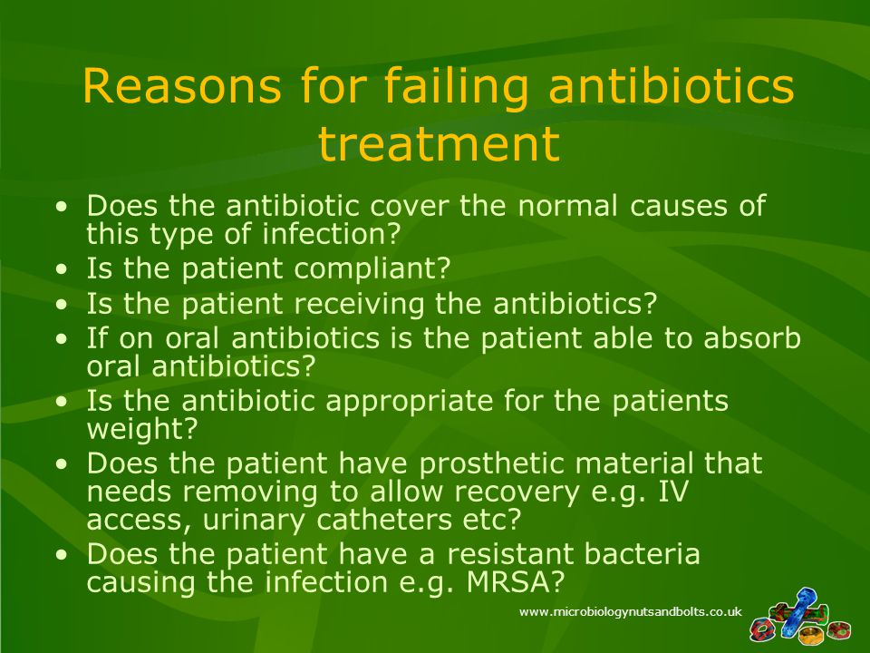 www.microbiologynutsandbolts.co.uk Reasons for failing antibiotics treatment Does the antibiotic cover the normal causes of this type of infection.