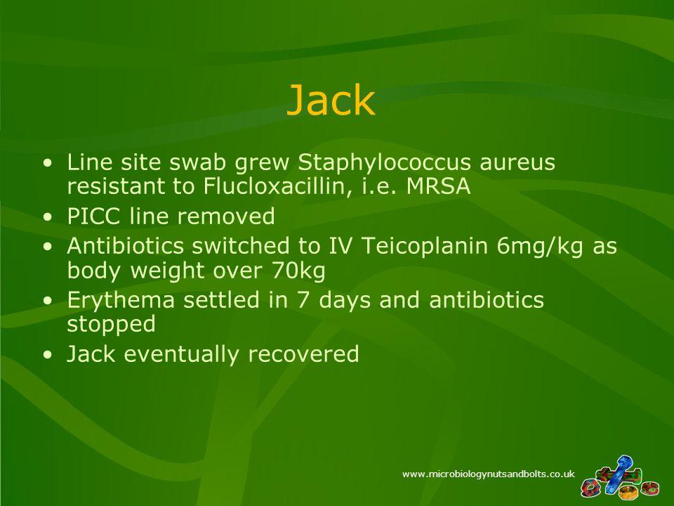 www.microbiologynutsandbolts.co.uk Jack Line site swab grew Staphylococcus aureus resistant to Flucloxacillin, i.e.