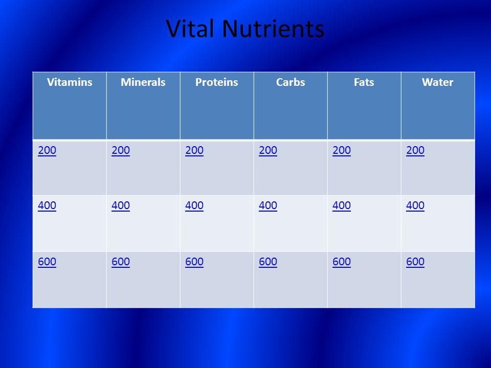 Vital Nutrients VitaminsMineralsProteinsCarbsFatsWater 200 400 600