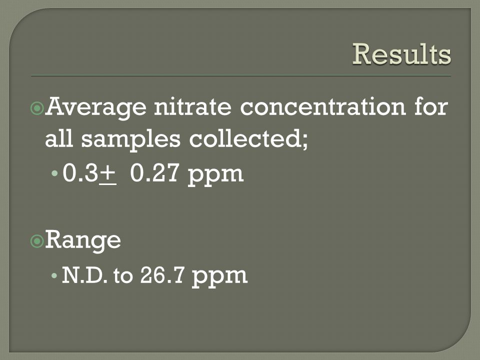  Average nitrate concentration for all samples collected; 0.3+ 0.27 ppm  Range N.D. to 26.7 ppm
