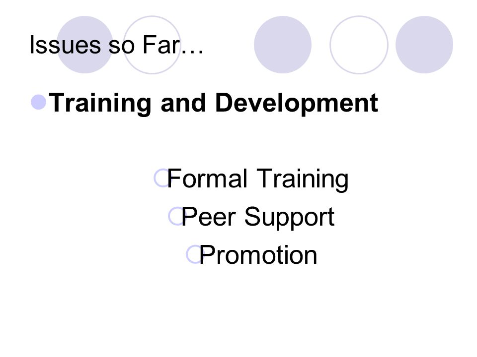 Issues so Far… Training and Development  Formal Training  Peer Support  Promotion