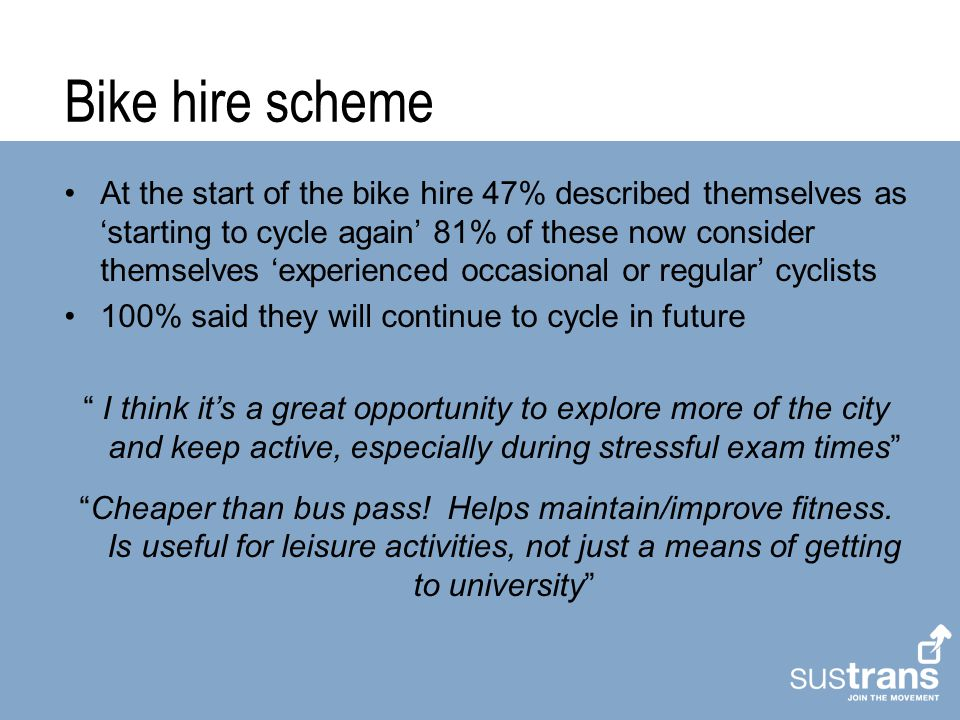 Bike hire scheme At the start of the bike hire 47% described themselves as 'starting to cycle again' 81% of these now consider themselves 'experienced