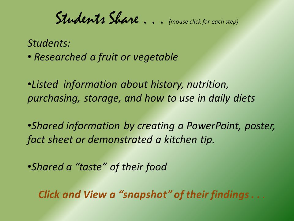 Fruits &Vegetables Search and Share FCS 8 th Grade – Session 2 Beatrice Middle School 2010-2011