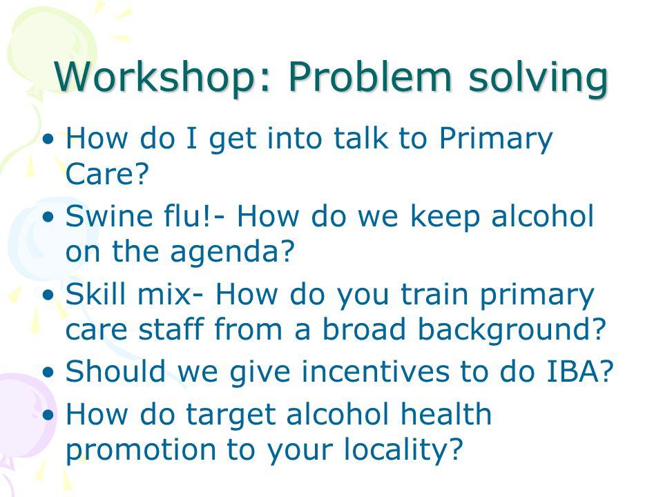 Workshop: Problem solving How do I get into talk to Primary Care? Swine flu!- How do we keep alcohol on the agenda? Skill mix- How do you train primar
