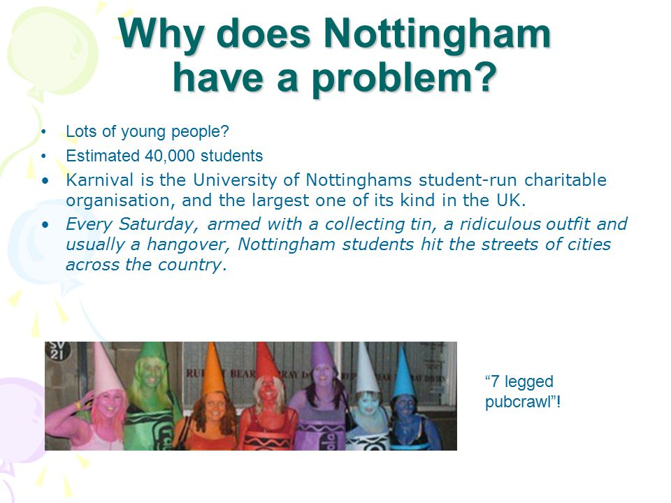 Why does Nottingham have a problem? Lots of young people? Estimated 40,000 students Karnival is the University of Nottinghams student-run charitable o