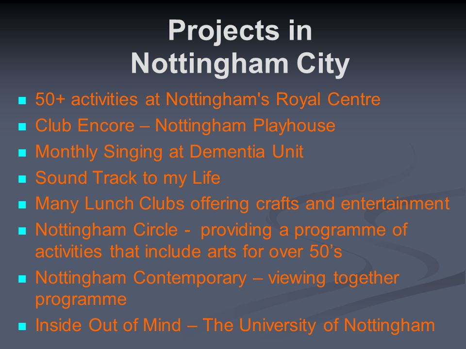50+ activities at Nottingham's Royal Centre Club Encore – Nottingham Playhouse Monthly Singing at Dementia Unit Sound Track to my Life Many Lunch Club