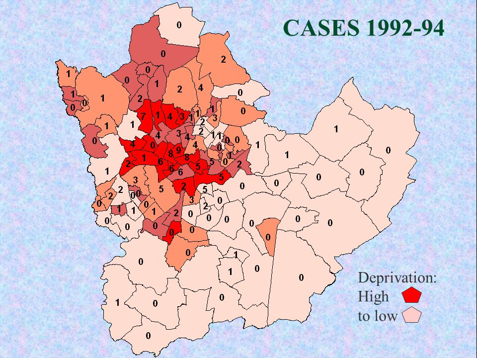 CASES 1992-94 Deprivation: High to low