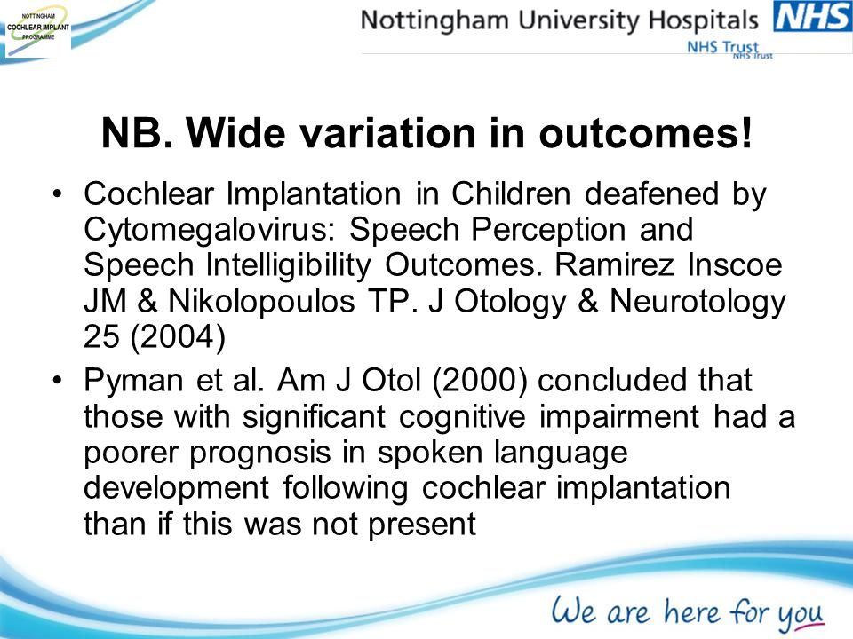 NB. Wide variation in outcomes.