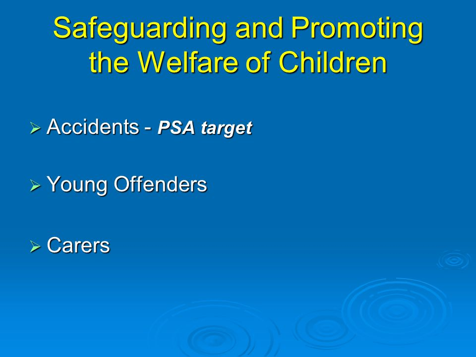 Safeguarding and Promoting the Welfare of Children  Accidents - PSA target  Young Offenders  Carers