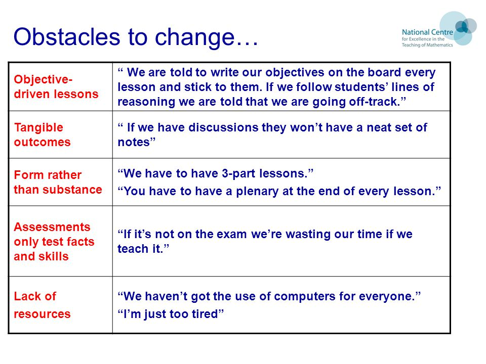 Obstacles to change… Objective- driven lessons We are told to write our objectives on the board every lesson and stick to them.