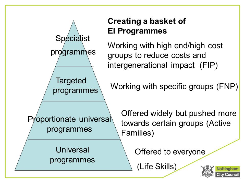 Specialist Creating a basket of EI Programmes Working with high end/high cost groups to reduce costs and intergenerational impact (FIP) programmes Tar