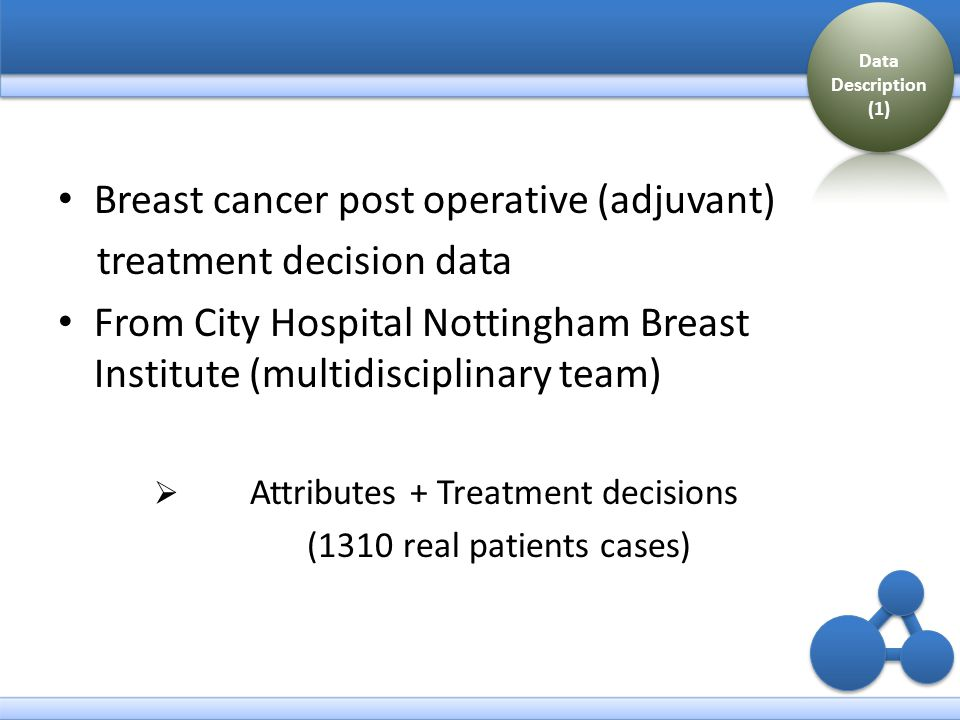 Attributes:  Patients' age  Lymph node stage, the number of positive lymph node found from samples  Nottingham prognostic index (NPI) value - an indication of how successful treatment might be - NPI = (0.2 x tumour diameter in cms) + lymph node stage + tumour grade  Estrogen receptor (ER) test result  Vascular invasion test result Data Description (2)
