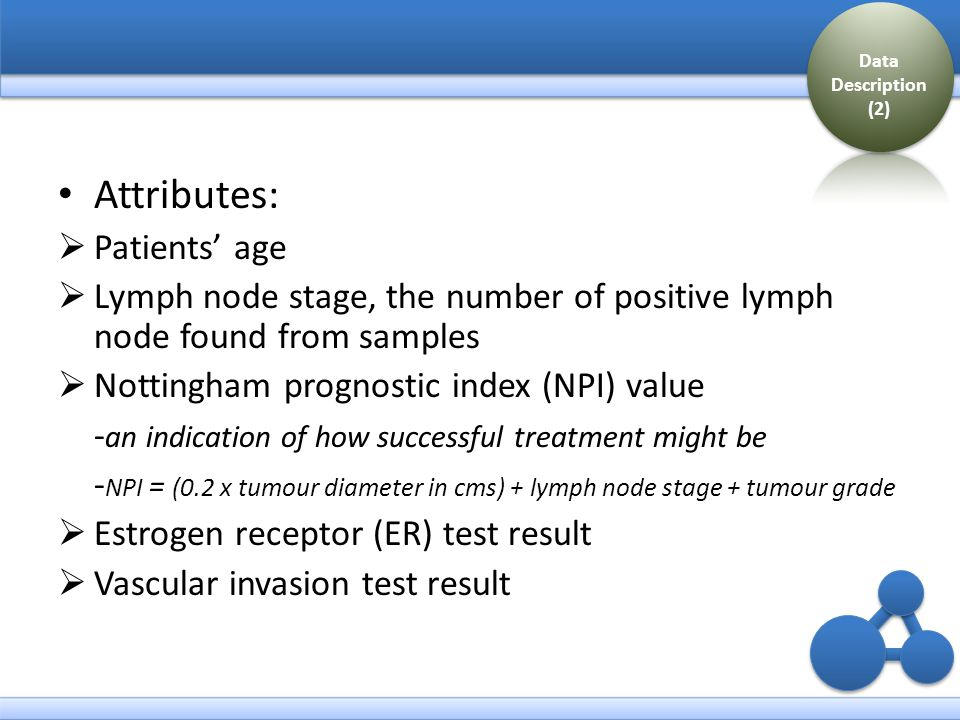 Attributes:  Patients' age  Lymph node stage, the number of positive lymph node found from samples  Nottingham prognostic index (NPI) value - an indication of how successful treatment might be - NPI = (0.2 x tumour diameter in cms) + lymph node stage + tumour grade  Estrogen receptor (ER) test result  Vascular invasion test result Data Description (2)