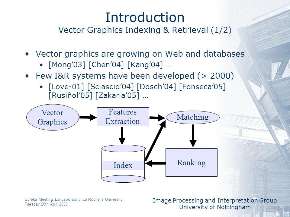 Image Processing and Interpretation Group University of Nottingham Eureka Meeting, L3i Laboratory, La Rochelle University Tuesday 20th April 2006 Introduction Vector Graphics Indexing & Retrieval (2/2) Line Graph [Dosch'04] [Zakaria'05] … Symbol recognition Region Graph [Fonseca'05] [Rusiñol'05]..