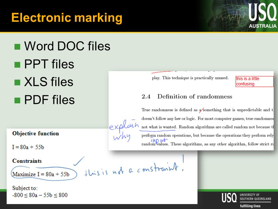 University of Nottingham, 22 June, 2010 Electronic marking Word DOC files PPT files XLS files PDF files