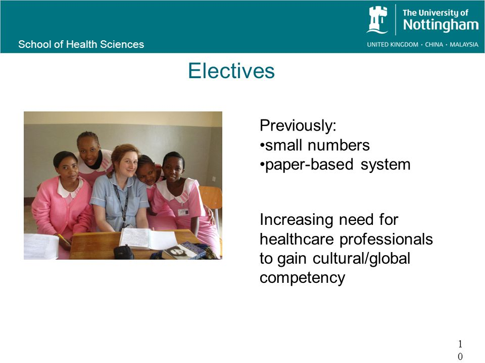 School of Health Sciences Electives 10 Previously: small numbers paper-based system Increasing need for healthcare professionals to gain cultural/global competency
