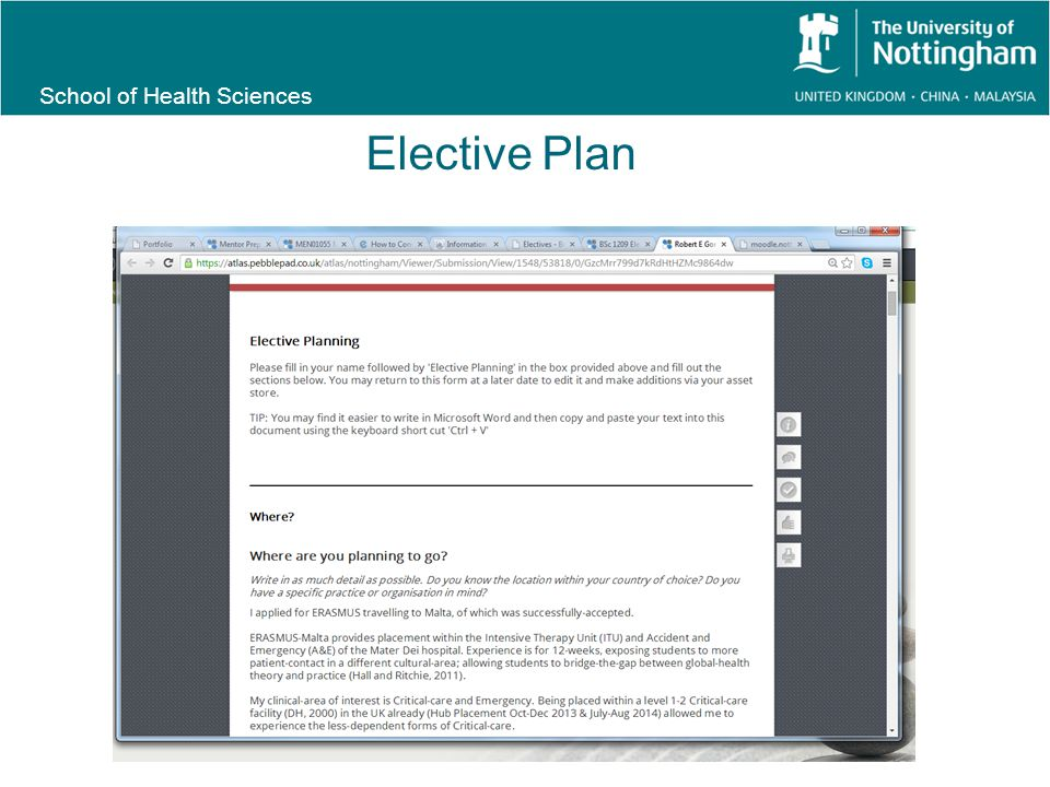 School of Health Sciences Elective Plan