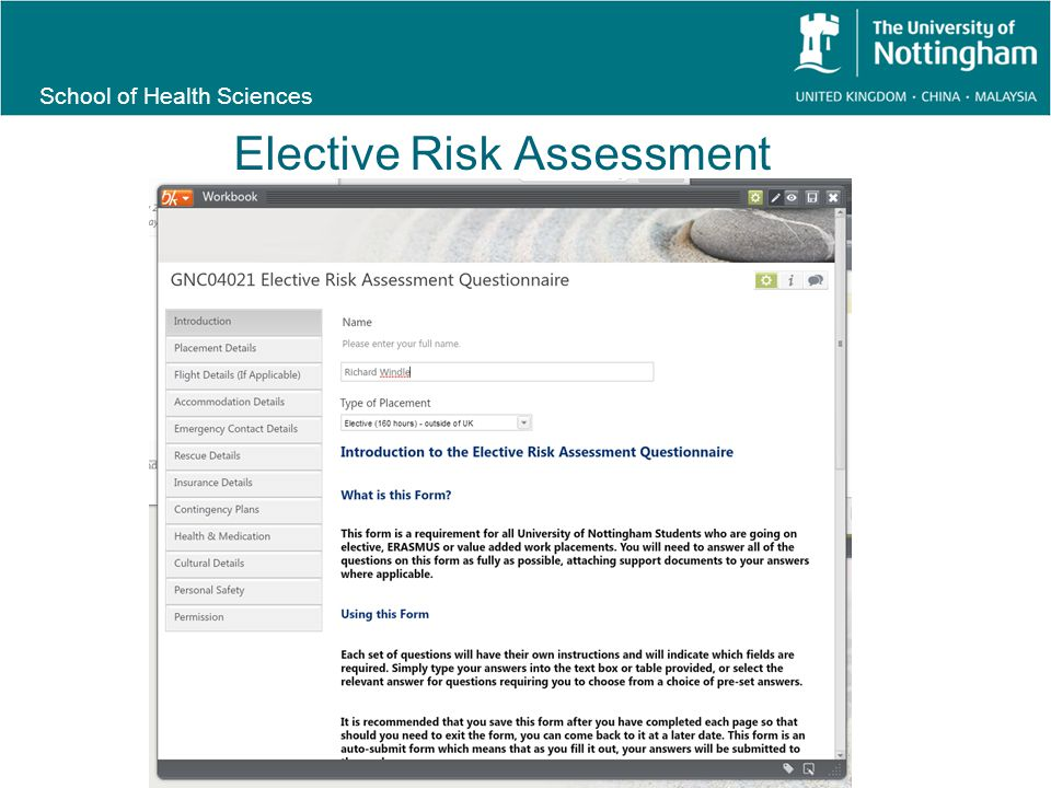 School of Health Sciences Elective Risk Assessment