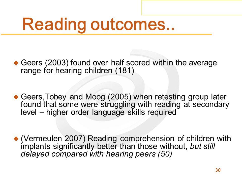 30 Reading outcomes..