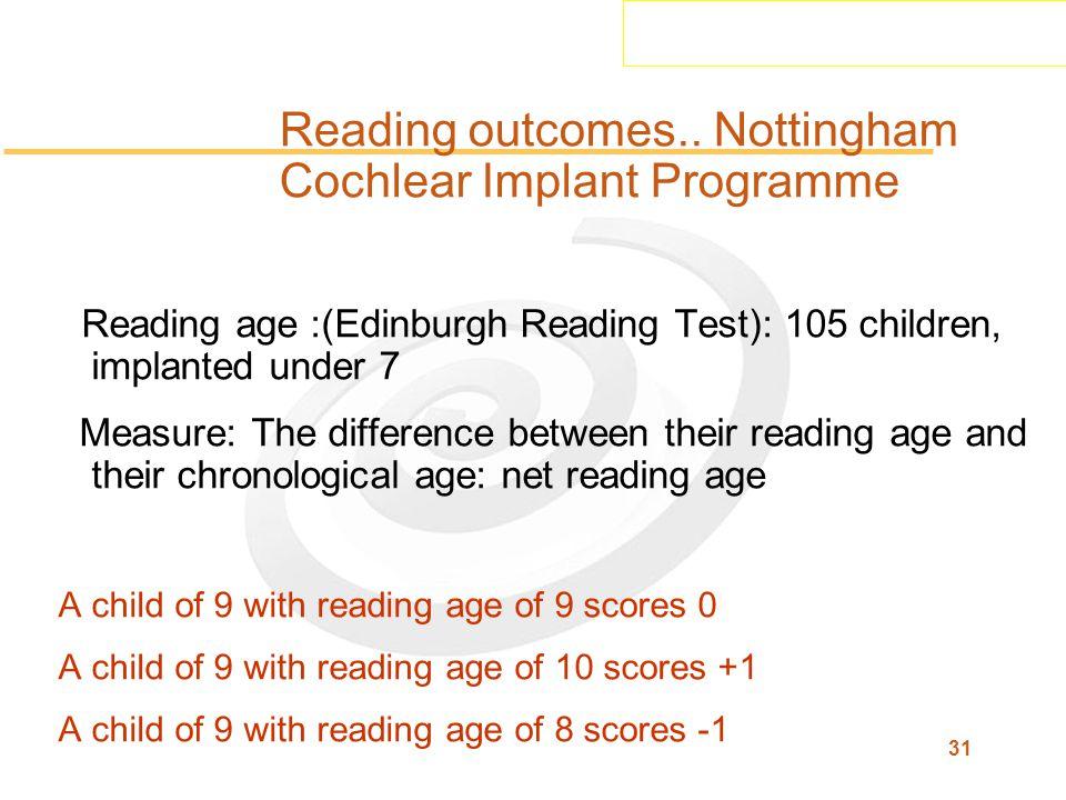 31 Reading outcomes..